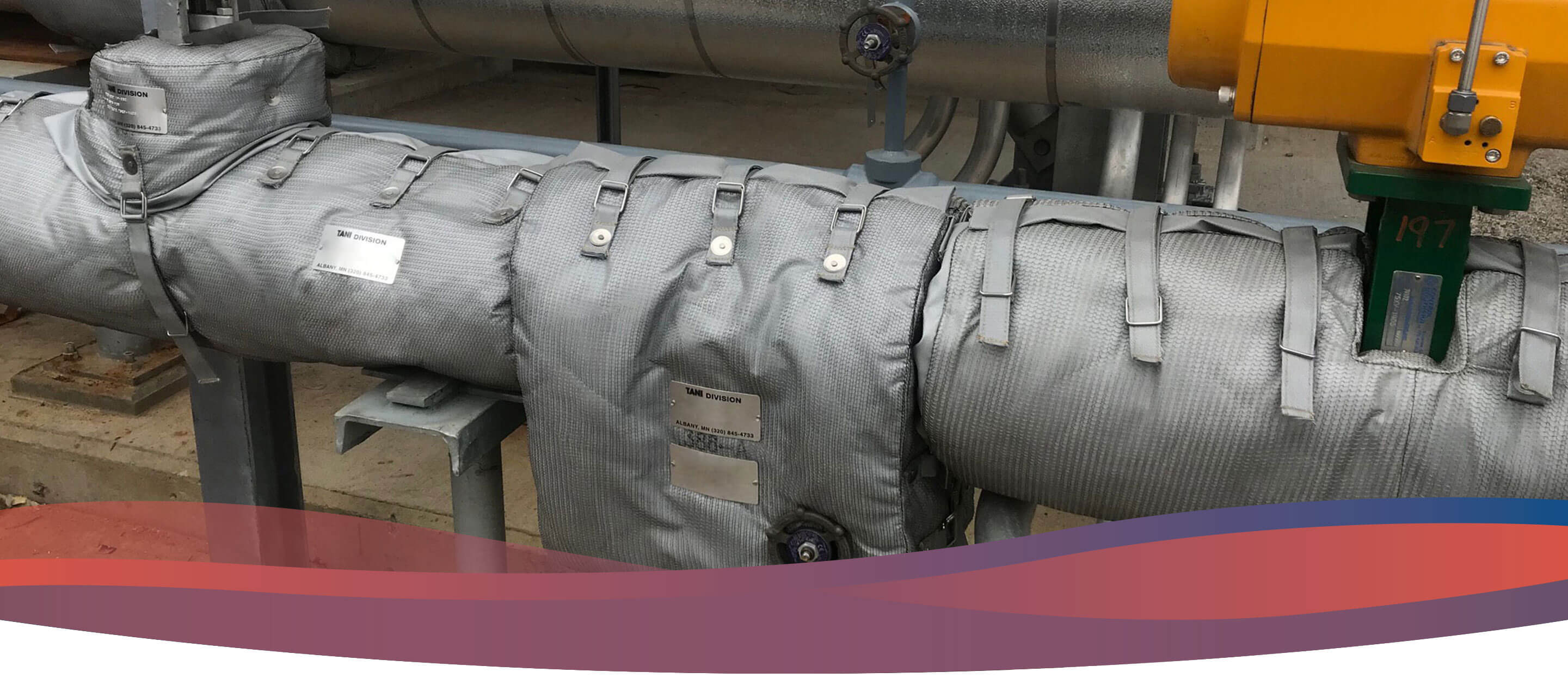 Ducts wrapped in a Tani industrial blanket